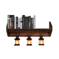 American Vintage bookshelf wall lamp LOFT living room study room restaurant bar coffee solid wood retro wall light ZA118719