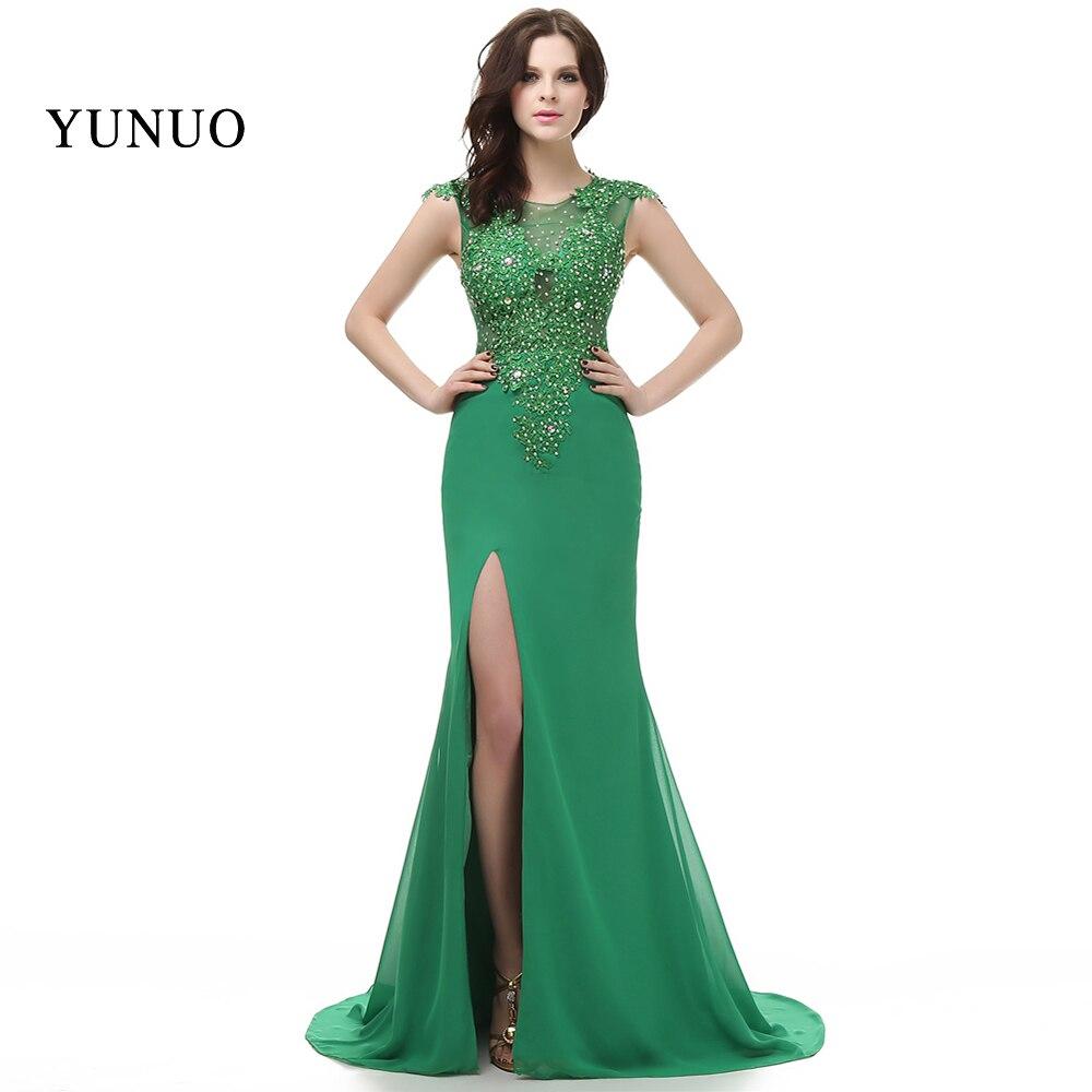 Vestidos de festa élégante nouveauté Robe de soirée 2019 robes de soirée vert longue a-ligne ouverte fente abendkleider x11504
