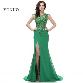 vestidos de festa Elegant New Arrival Robe de soiree 2019 Evening Dresses Green Long A-line Open Slit abendkleider x11504