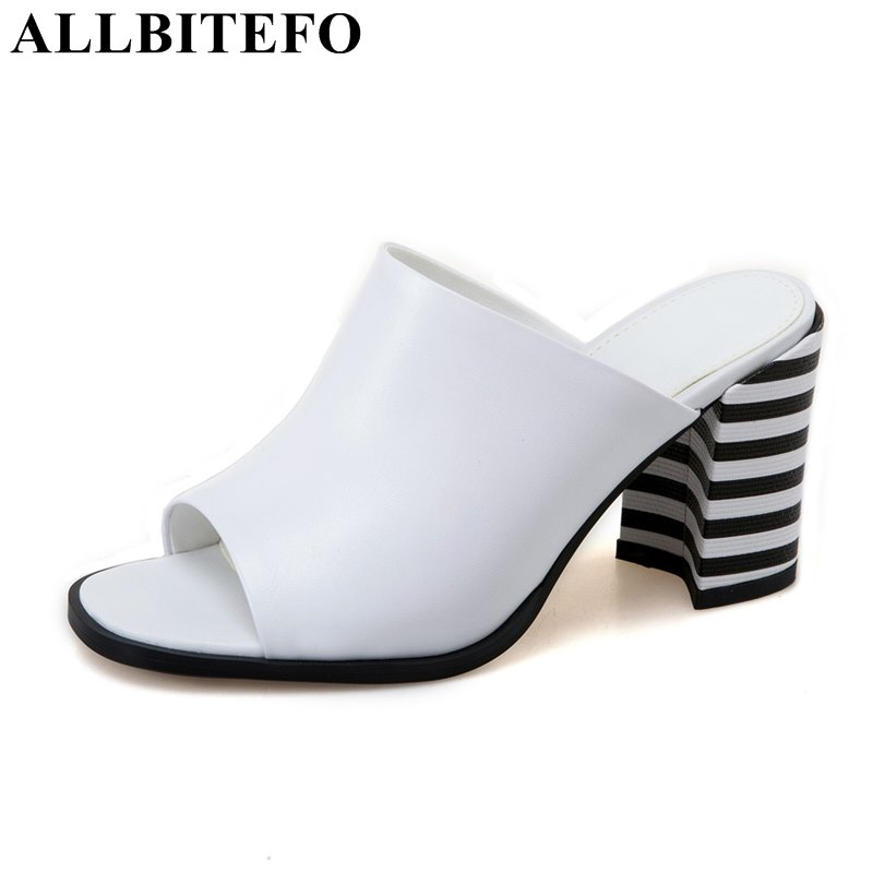 ALLBITEFO genuine leather peep toe thick heel mixed colors women sandals fashion brand high heels summer
