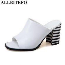 Allbitefo/натуральная кожа с открытым носком на толстом каблуке Смешанные цвета женские сандалии модный бренд Обувь на высоком каблуке летние босоножки вьетнамки