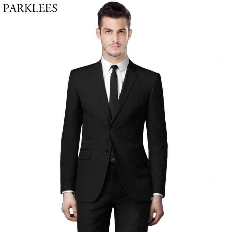 Men Business Suit Slim Fit Male Suits Blazers Luxury Black Single Breasted Two Button 2 Pieces (Suit Jacket+Pants) Tuxedo Suits single breasted slim fit blazer men chinese tunic suit jacket male suits man fashion blazers stand collar autumn plus velvet