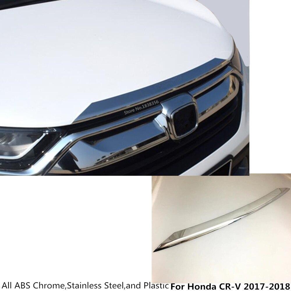 Car styling corps couverture Pare-chocs moteur ABS Chrome garniture Avant Grille Grill Grille moulage bord 1 pcs Pour Honda CRV CR-V 2017 2018