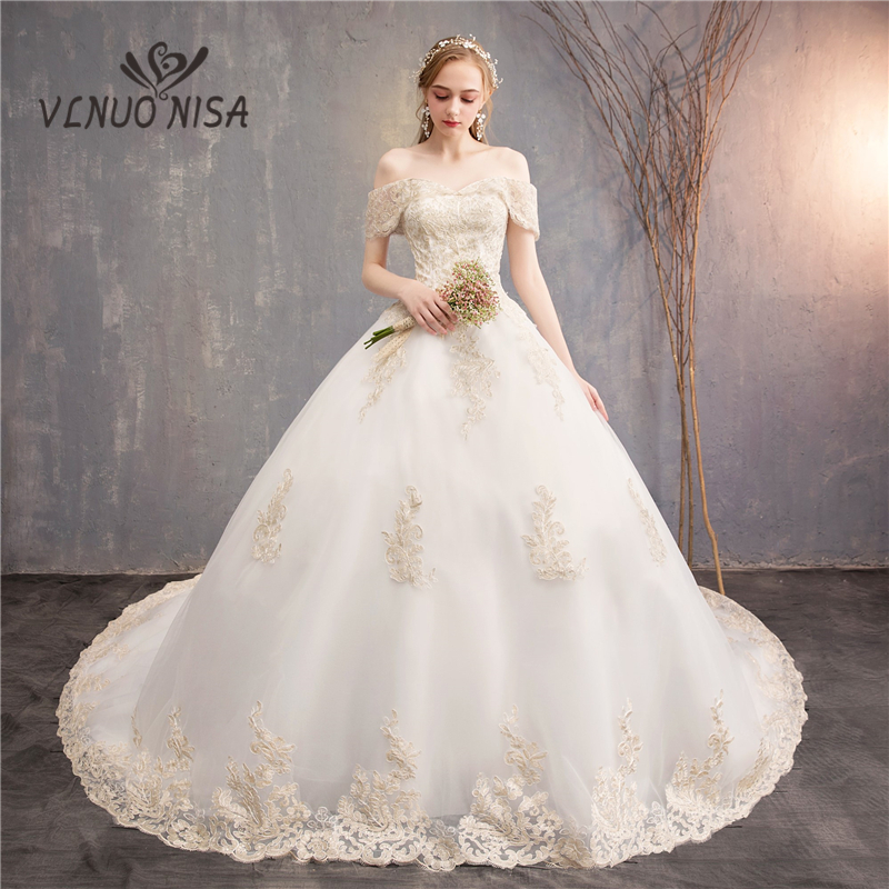 VLNUO NISA White Tulle Wedding Dress With Beautiful Champagne Embroidery Appliques Lace Bride Gown Elegant Vestido De Noiva 30
