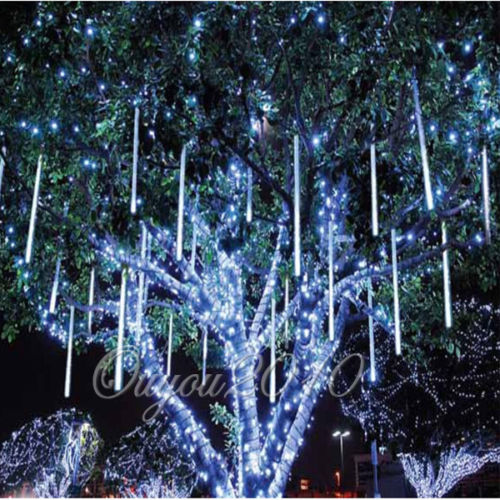 8pcs falling rain drop icicle snow fall led string lights xmas tree