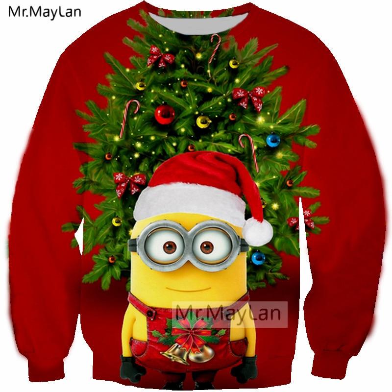 Us 14 95 36 Off Christmas Tree Sweatshirts 3d Print Cartoon Cute Minions Men Women Hip Hop Streetwear Girls Red Kawaii Clothes Outfits Tops 5xl In