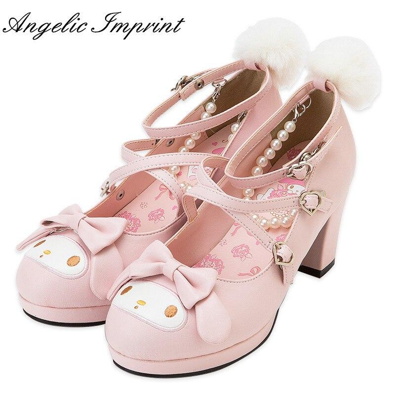 Girls Cute Rabbit Cross Strap Shoes Pink Chunky Heels Sweet Lolita Cosplay Shoes lolita high heels white pink black cosplay shoes sweet cute girl shoes