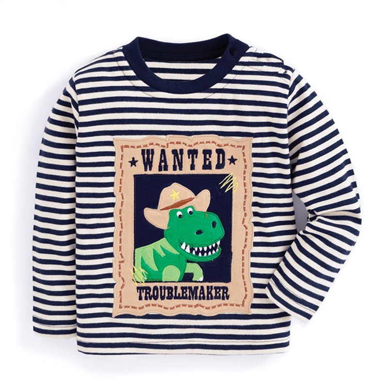 Top Baby Kids T-shirts for Boys 2-7T dinosaur applique Tops Autumn Children clothes Tees Infant O-neck Tshirts Boys T Shirts fashion long sleeve o neck t shirt 2017 new arrival men t shirts tops tees men s cotton t shirts 3colors men t shirts m xxl