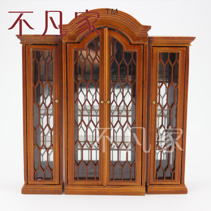 Dollhouse 1/12 scale miniature furniture Hand Carved Combined display cabinet dollhouse 1 12 scale miniature furniture well made wooden hand carved kitchen kit