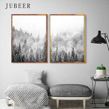 Scandinavian Style Poster Snow Forest Wall Art Landscape Canvas Painting Black and White Posters Prints Decoration Home