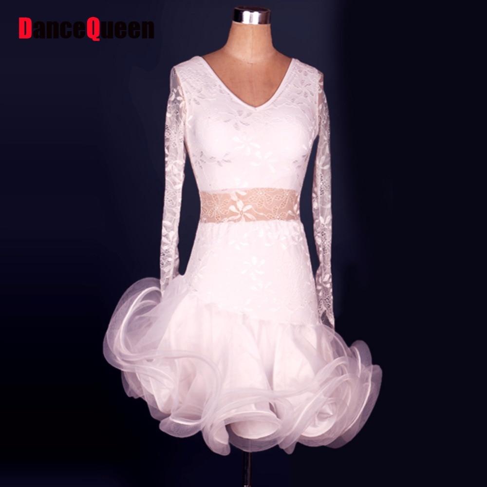2018 Latin Salsa Dresses White Cha Cha/Rumbsa/Samba/Ballroom/Latin Dance Costumes For Women/Girls Robe Danse Latine Dancewear