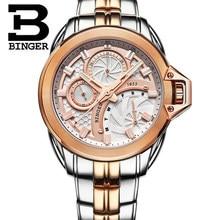 Nueva Ginebra Platino Oro Binger Reloj de Hombre Analógico reloj casual vestido reloj de Cuarzo reloj de oro para hombre de Acero Relojes de Moda
