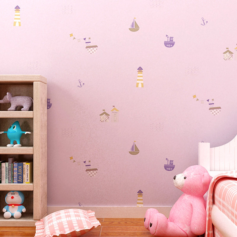 Sweet Boys And Girls Non Woven Cartoon Boat House Baby Real Kids Children Room  Wallpaper 0.53x10m Wall Paper Roll Free Shipping  In Wallpapers From Home  ...