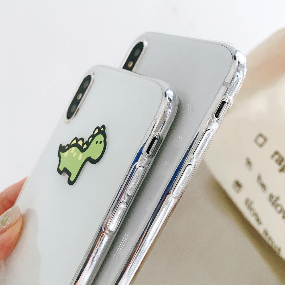 KIPX1072_3_JONSNOW Transparent Soft Case For iPhone 6S 7 8 Plus Cute Funny Dinosaur Pattern Phone Cover For iPhone XS XR XS Max Capa Coque Fundas