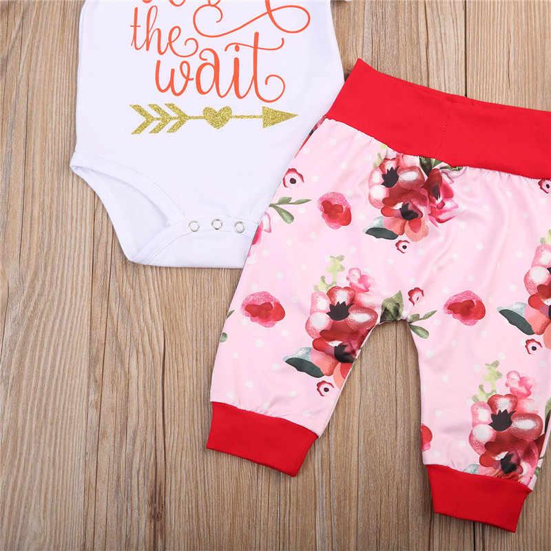 Emmababy Yenidoğan 4 Adet Bebek Kız giysileri set kızlar Değer Bel Romper Tops + Çiçek Pantolon Gelen Ev Kıyafetler bebek kız giyim