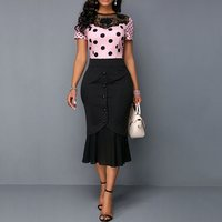 Summer Office Ladies Vintage Plus Size Party Sweet Pink Women Midi Dresses Mermaid Polka Dots Embroidery Lace African Chic Dress