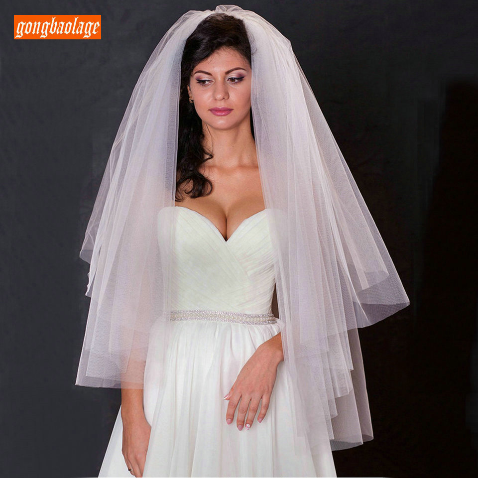 Simple Style White Bridal Veils 75 CM Cut Edge Elegant Soft Tulle 2019 Real Pictures Wholesale Price Ivory Short Wedding Veil