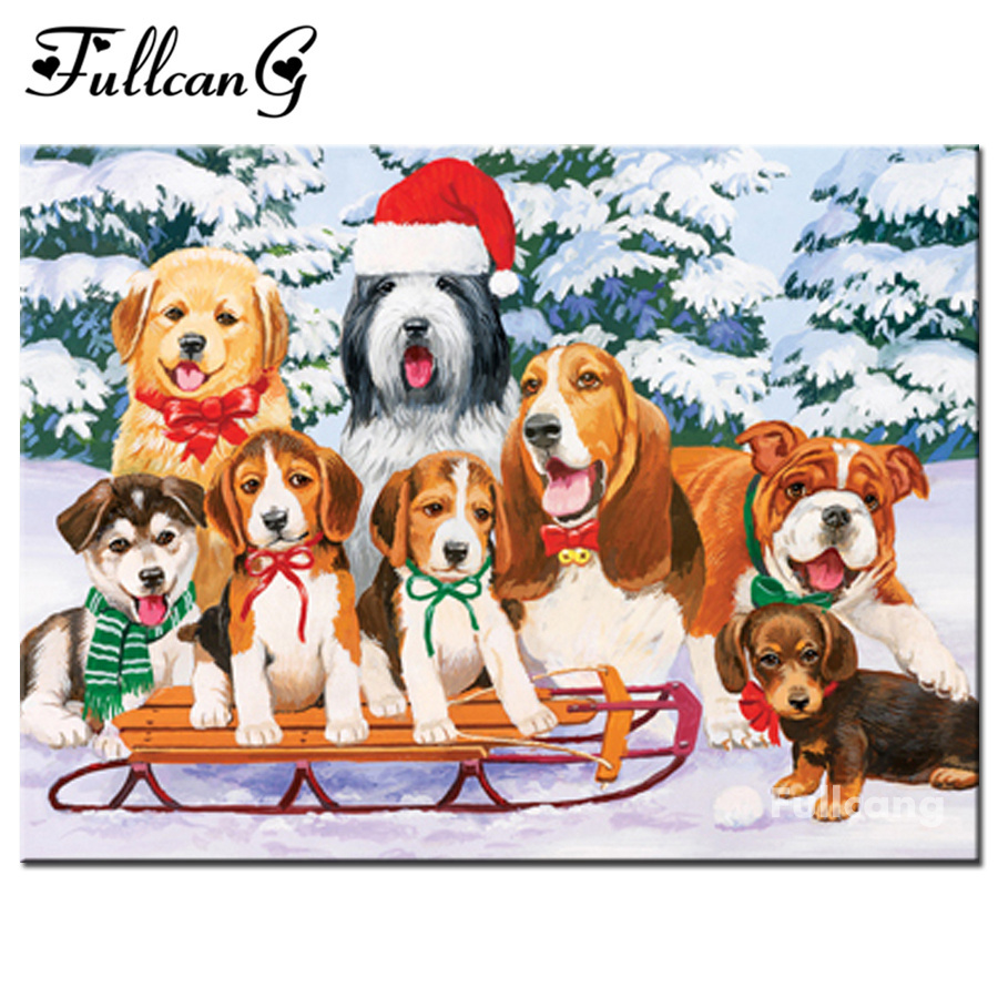 FULLCANG diy 5d mosaic sled dogs diamond painting cross stitch full square diamond embroidery animals painting home decor F009 ...