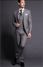 Custom Made Groom Tuxedo Light Grey Groomsmen Notch Lapel Wedding/Dinner Suits Best Man Bridegroom (Jacket+Pants+Tie+Vest) B248