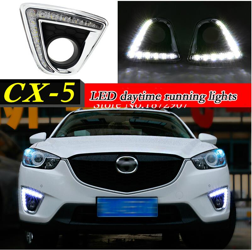 ФОТО Dimming style Relay 12V  led car drl daytime running lights with fog lamp hole for Mazda cx-5 cx5 cx 5 2012 2013 2014