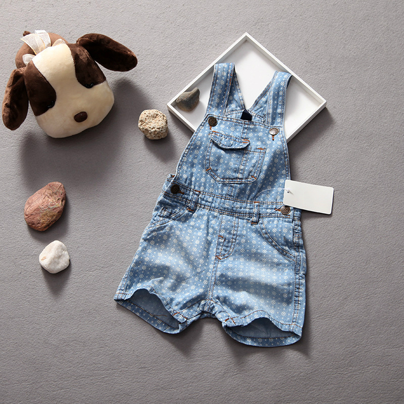 Summer pants for baby boy girl shorts dot cowboy denim overalls infants jumpersuit kids jeans shorts 6-24M
