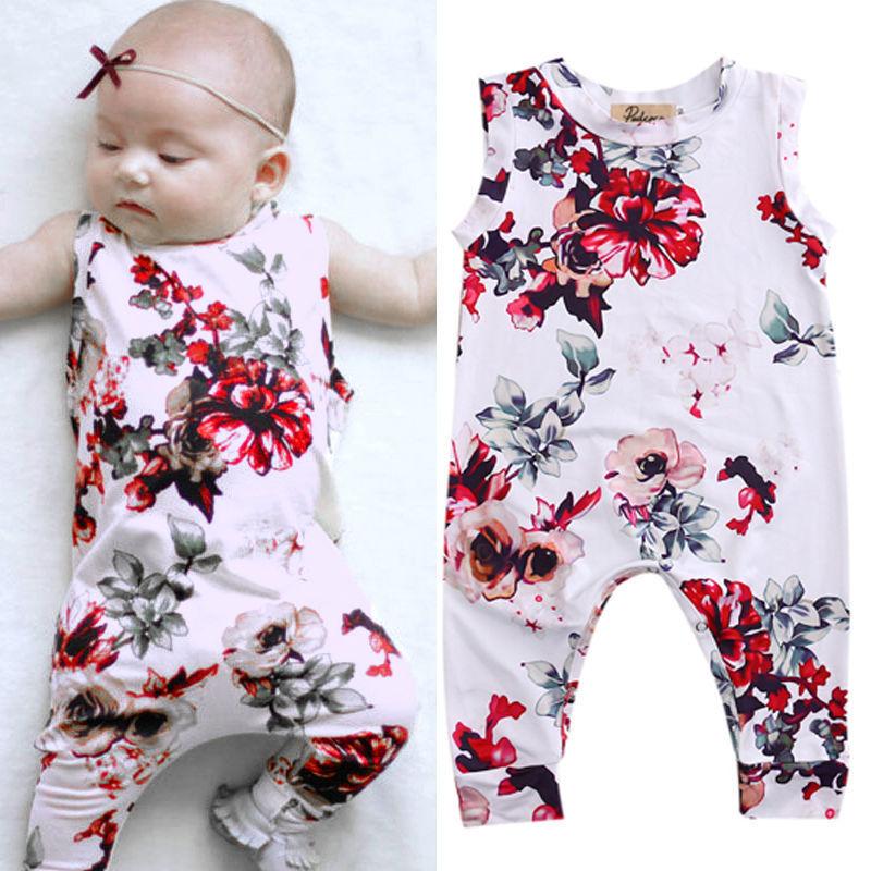 Aranyos újszülött romper nyári ruhát ruhát lány virágos - Bébi ruházat - Fénykép 2