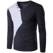 Men T shirt 2017 New Summer t Shirt Casual Patchwork Cotton Tee long Sleeve Slim Fit T-Shirt V-Neck Tees XXL Q