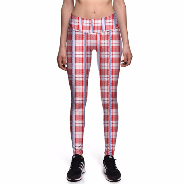 1d0d209fba761 NEW 0047 Hot Girl Women Grid Plaid Tartan Red 3D Prints High Waist Running  Fitness Sport Leggings Jogger Yoga Pants Plus