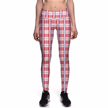 NEW 0047 Hot Girl Women Grid Plaid Tartan Red 3D Prints High Waist Running Fitness Sport Leggings Jogger Yoga Pants Plus