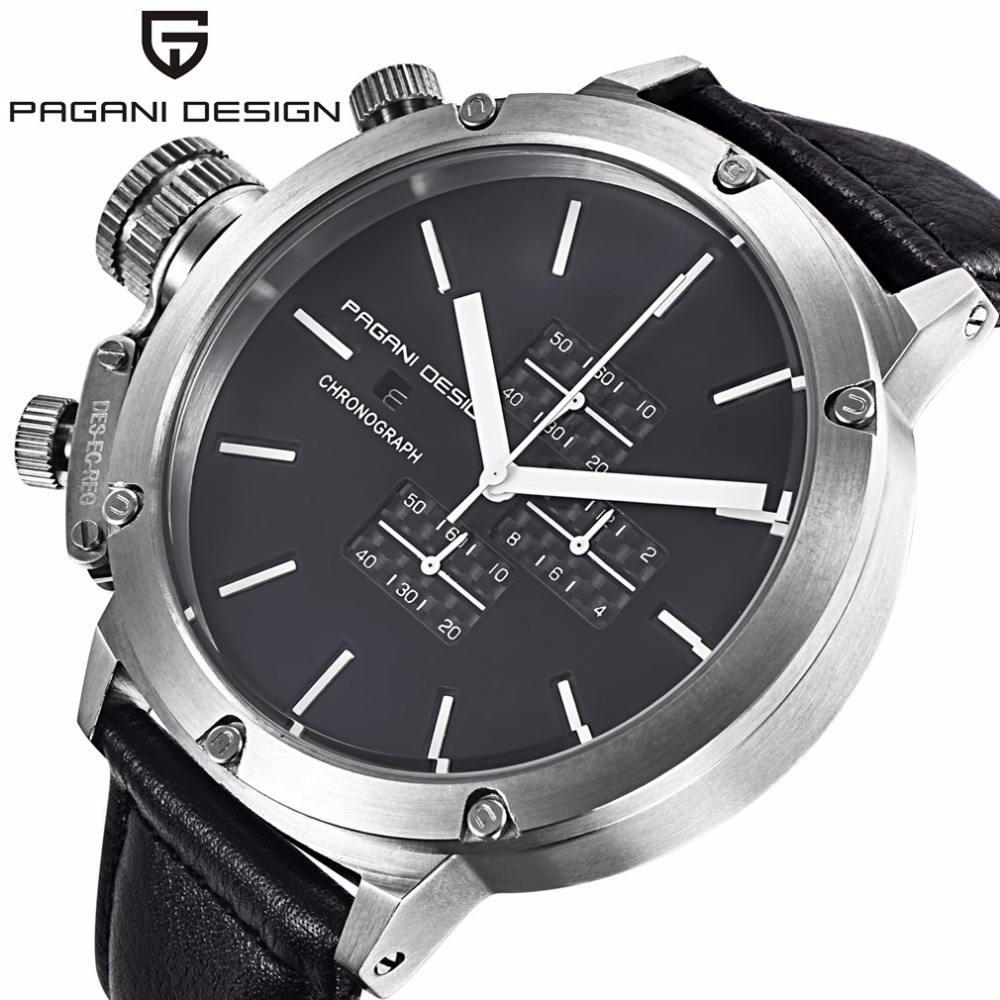 PAGANI DESIGN Big Dial Men Watch Genuine Leather Quartz Chronograph Business Sport Wrist Watch Male Clock horloges mannen genuine curren brand design leather military men cool fashion clock sport male gift wrist quartz business water resistant watch