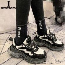 Купить с кэшбэком Genuine Leather Retro Dad Sneakers platform shoes women Chunky sneakers comfortable femme women casual Thick Sole Ladies shoe