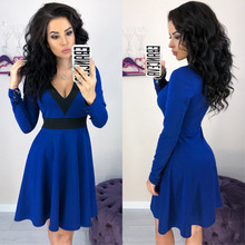 MISAUU Spring Autumn New Fashion Women Long Sleeve A-Line Dress Solid Sexy Deep V-neck Ladies Evening Party Bodycon Vestidos