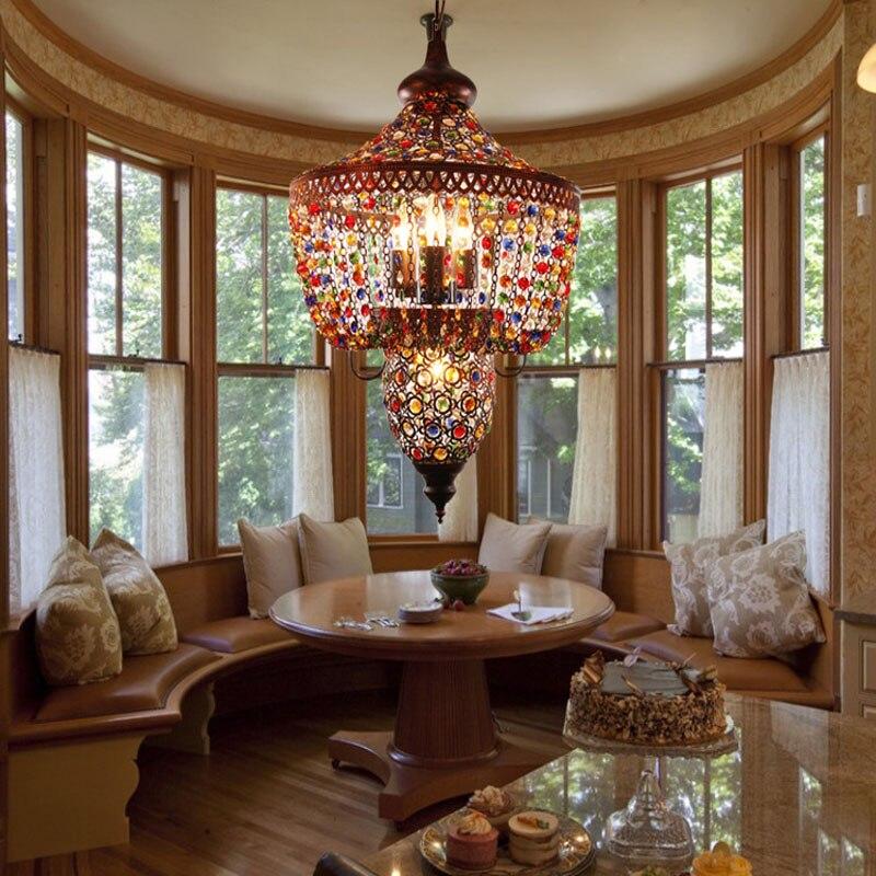 T Mediterranean style Iron Retro Pendant Light Balcony Restaurant Living Room Home Lighting E27 Bulb Corridor Aisle Lamps