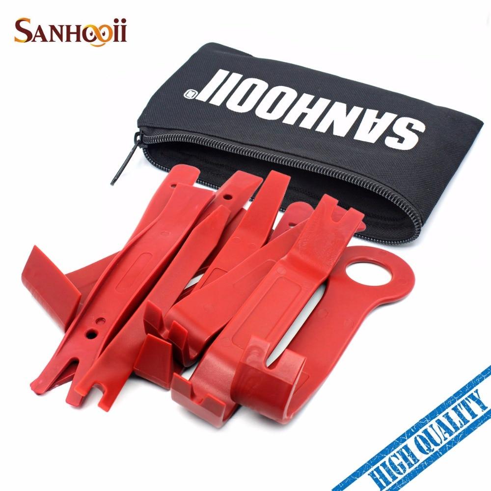 SANHOOII 11PCS Car Upholstery Removal Kit Auto Interior Radio Panel Door Clip Windows Trim Removal Installer Pry Repair Tool Set