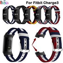 Nylon sport watchband strap for Fitbit charge3 smart watch 18mm replace fashion Fitness Wristband bands
