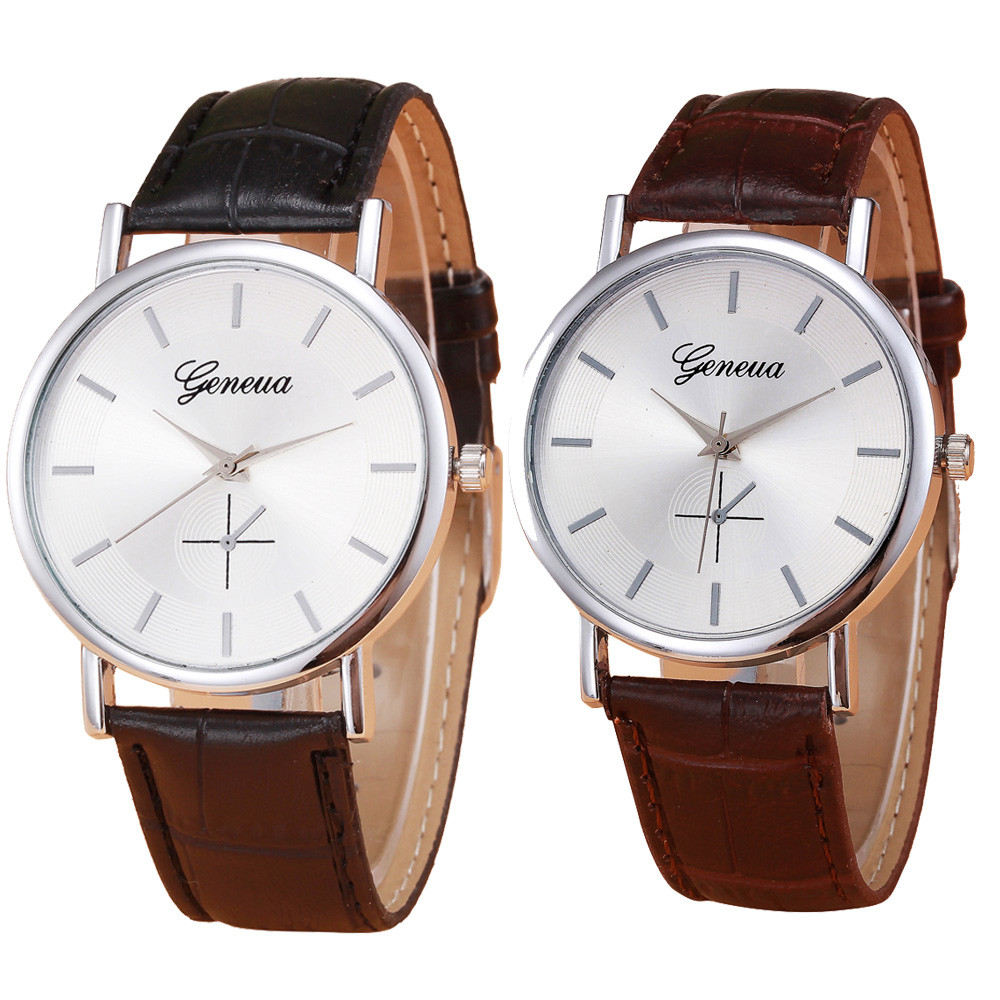 Relogio Feminino Geneva Watch Women Men's PU Leather Business Watches Casual Fashion Men Quartz Wrist Watch Clock Hours relojes geneva watches women fashion diamond dial quartz wrist watch womens pu leather analog cheap watch men clock relogio reloj zer