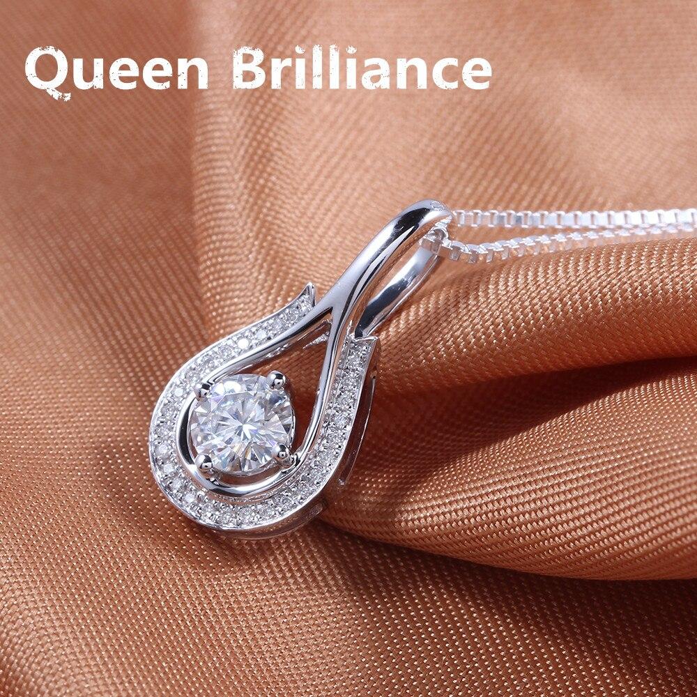 Queen Brilliance 0.5 карат БКМ f цвет Лаборатория Grown Муассанит алмаз Цепочки и ожерелья кулон из натуральной 18 К 750 Белое Золото Бесплатная доставка ...