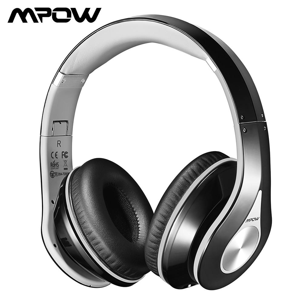 Original Mpow 059 Bluetooth-hörlurar med hörlurar med brusavbrott Stereo hopfällbart huvudband Ergonomiskt utformade mjuka öronskydd
