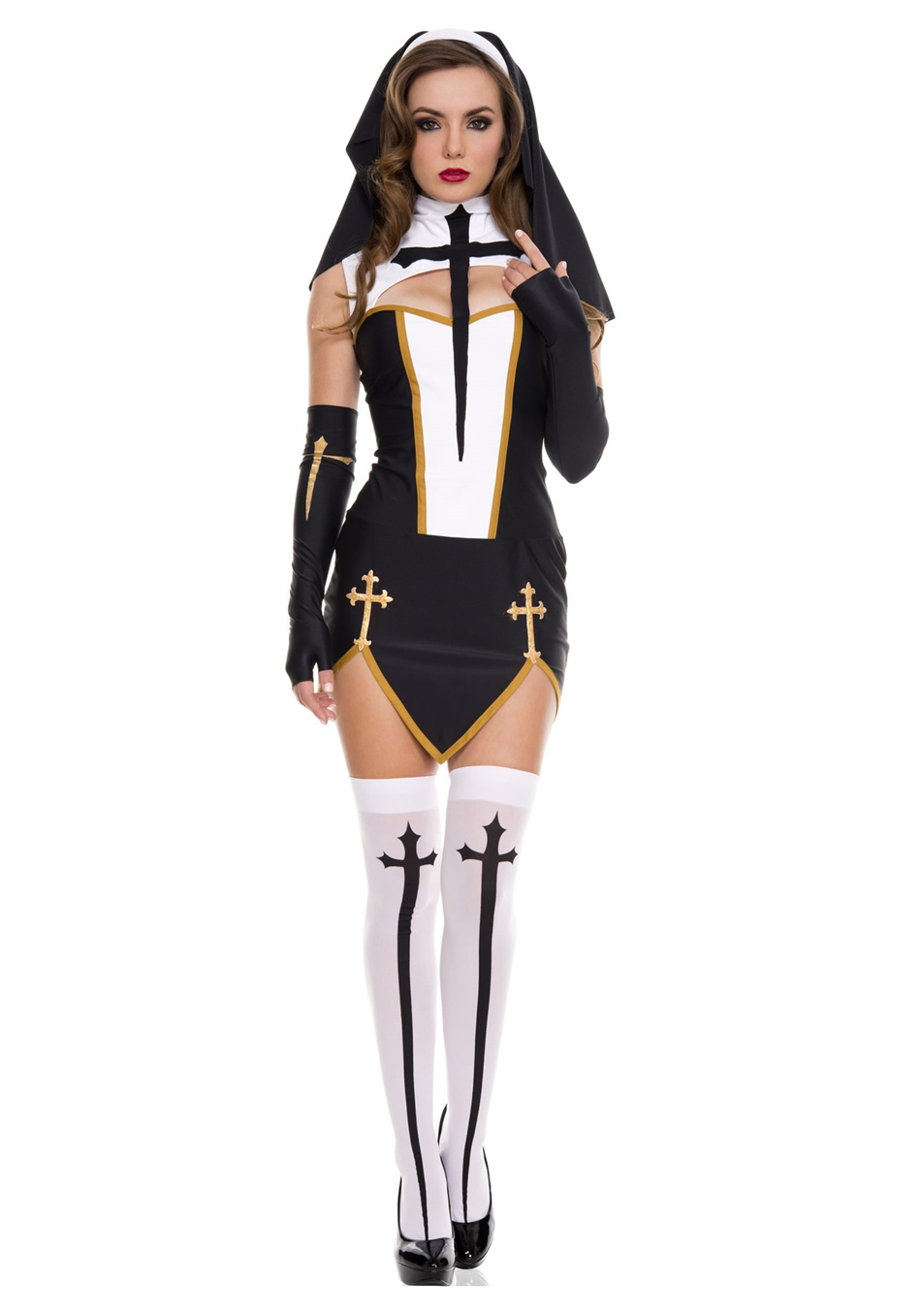 Medieval Cosplay Halloween Costumes for Women Priest Nun Missionary Costume Set 13
