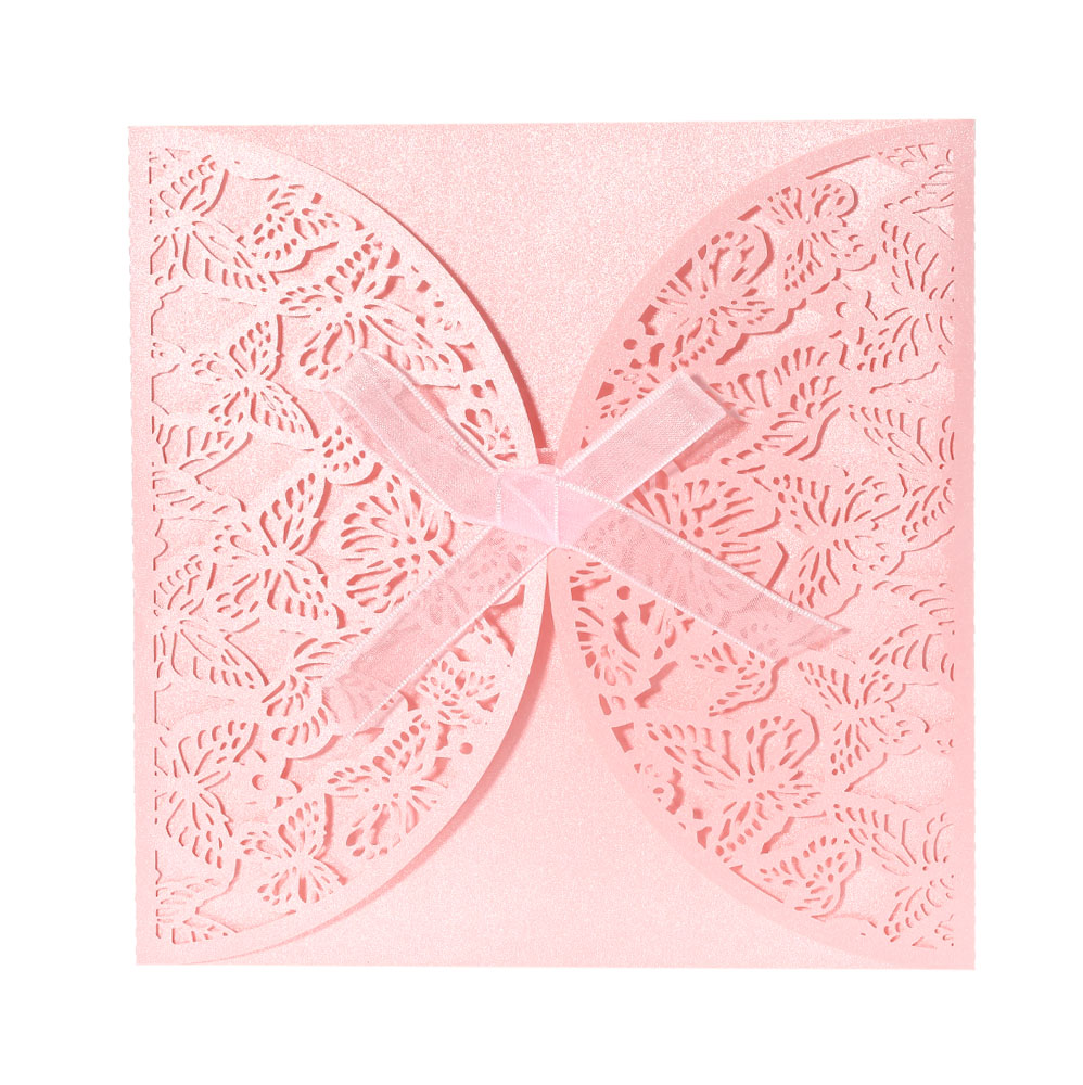 40PCS Romantic Iridescent Paper Wedding Invitation Card Butterfly Pattern Carved Hollow Out Crafts Cards  Party Wedding Banquet 1 design laser cut white elegant pattern west cowboy style vintage wedding invitations card kit blank paper printing invitation