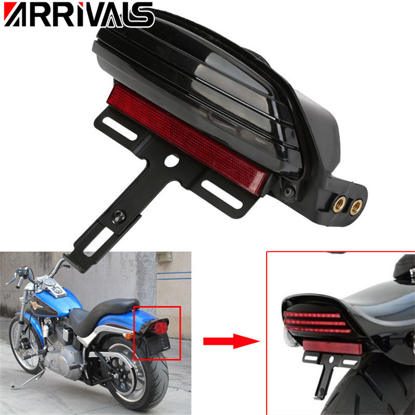 Motorcycle Black Tri-bar Fender LED Tail Brake Light for Harley 2008-UP Dyna Softail Fat Bob FXST FXSTB FXSTC ellis faas ellis faas el861mwks857