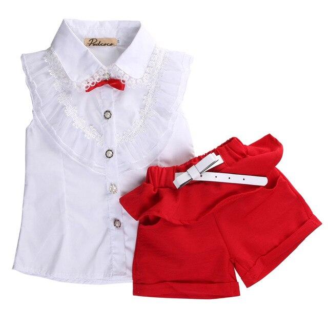 2 шт. детские набор! мода лето Новорожденных Девочек белое Кружево Цветочные рукавов Рубашка + красные шорты для возраст 2-7Y