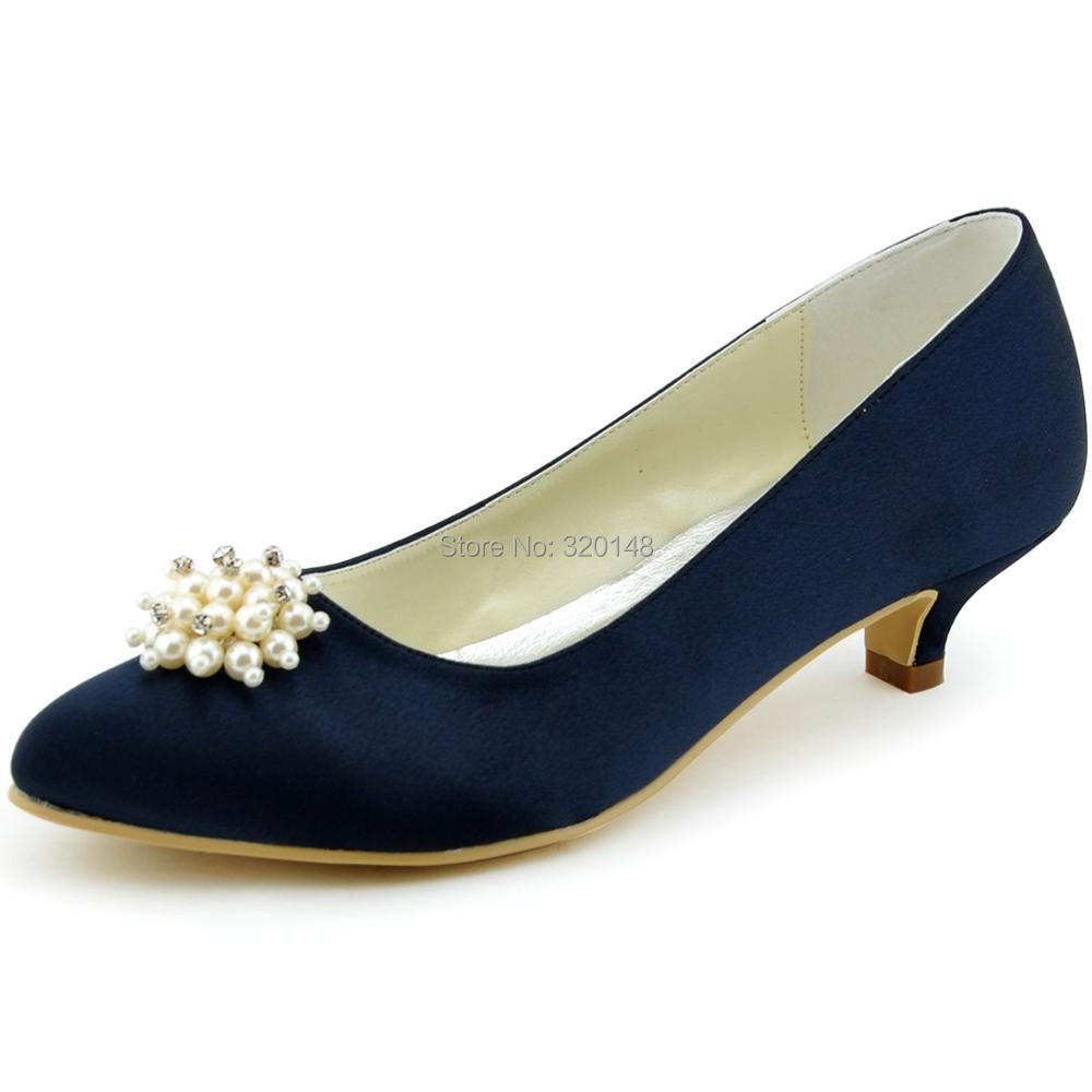 woman shoes for Bride EP2087 White ivory  Pointed Toe Rhinestone Pearl low Heel Satin Female lady Wedding Bridal pumps Navy Blue luxurious elegant ivory pearl wedding party dancing shoes bridal shoes pointed toe kitten heeled shoes woman lady dress shoes