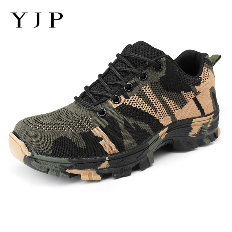 YJP Men Camouflage Lightweight Bulletproof Work Safety Shoes AtreGo Anti-smashing Steel Toe Shoes Men Boots Sneakers Big Size big size for men boot safety protective shoes cover man rubber safety shoes cover non slip anti smashing steel toe work shoes