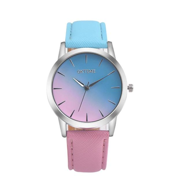 Women Watch Quartz Wrist Watch Retro Rainbow Design Casual Leather Band Ladies s
