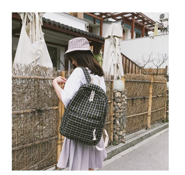 HTB1SKMRa8WD3KVjSZKPq6yp7FXah 2 Pieces Japan style Plaid Style Women Backpack Pencil Case Student Girl School Bag Travel Shoulder Bag For Women 2019 Bagpack