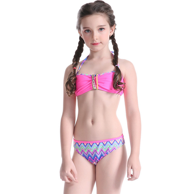 c0e9b7bbe4 5-14 Years Children Swimwear Halter Bandage Bikini Baby Girls Two Pieces  Swimsuit Lace-Up Kids Summer Princess Bathing Suit