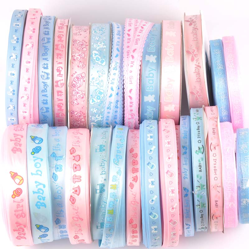 6yard/lot Baby Mix Pink/blue Ribbons For Crafts Sewing Decorative Trim Lace Set Box Bow DIY Accessories Gift Wrapping C2263(China)