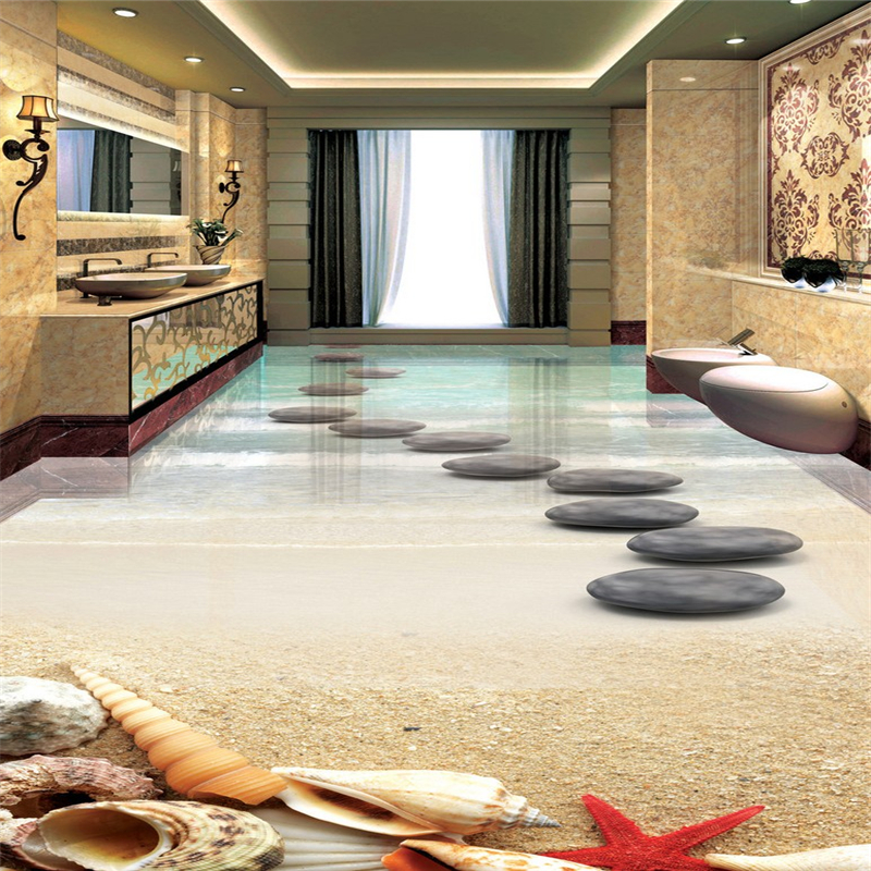 Beibehang Papel De Parede 3d Wallpaper Starfish Shell Stone Bathroom 3d Flooring Waterproof Self Adhesive Wall Paper Sticker