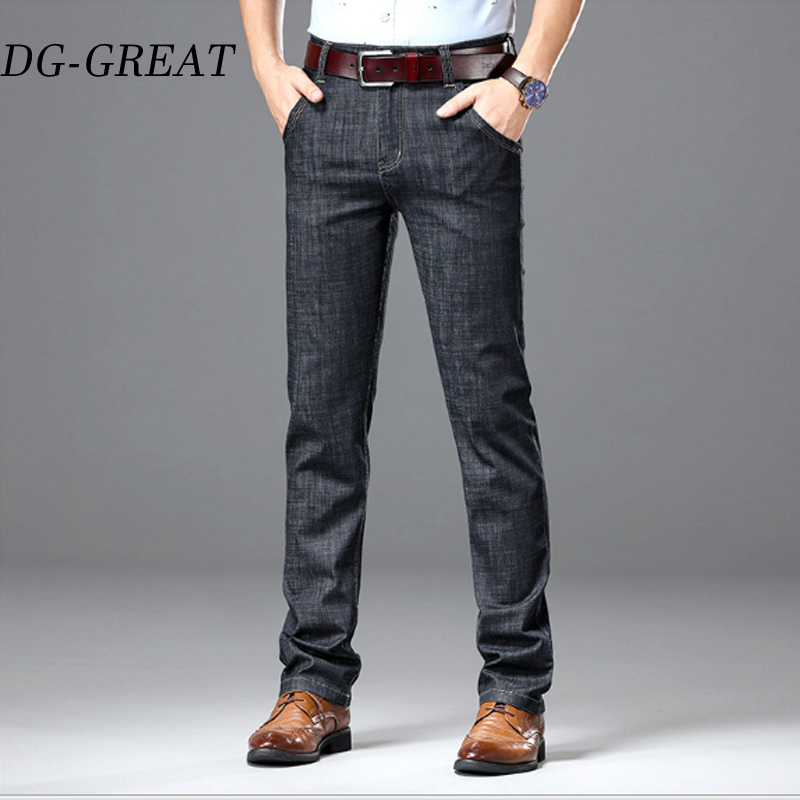 Men's Summer 2019 Cotton Jeans Thin Straight Baggy Business Jeans Men's Casual Pants High Quality Slim Jeans Clothes Plus Size